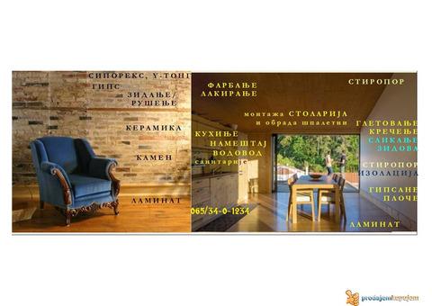 Renoviranje adaptacije stanova i lokala moleraj gips keramika laminat podovi zidovi pregrade šankovi