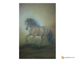 Umetnicka slika, pastel ,,Konj u trku
