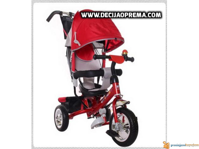 Tricikl za decu Playtime Podesivi Naslon Crveni - 1/2