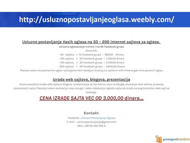 Usluzno postavljanje oglasa na 50-200  sajtova !!! - 1/1
