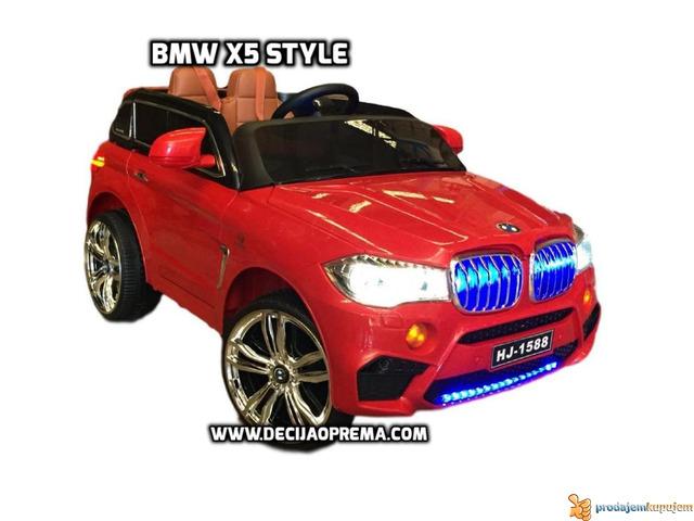 BMW X5 Style na akumulator 12V za decu Crveni - 1/4