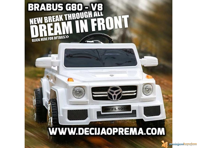BRABUS G80-V8 Dzip na akumulator za decu Beli - 1/3